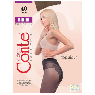 Conte Bikini, Колготи жіночі сірі, розмір 2, 40 ден