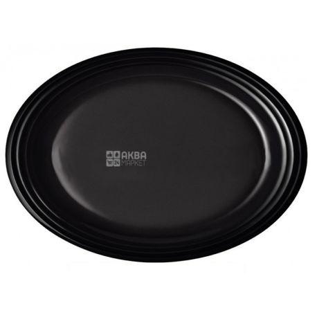 LUX, , Plate plastic oval black Ø 26 cm, 50 pcs.