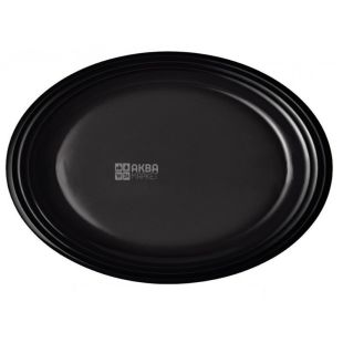 Black oval plate, 260 mm, 50 pcs.