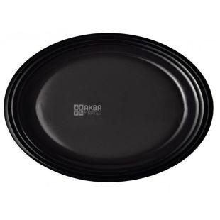 LUX,Тарелка пластиковая овальная черная Ø 26 см, 50 шт.