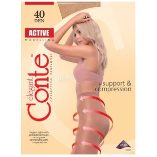Conte Active Natural, Колготы женские телесные, 40 ден, 4 размер