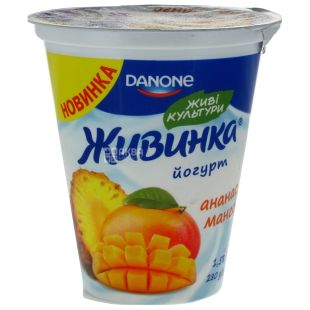 Danone, Йогурт живинка ананас-манго, 1,5%, 280 г