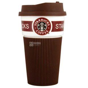 Стакан с крышкой, керамика-силикон, 400 мл, ассорти, ТМ Olens Starbucks