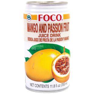 Foco, Mango and Passion fruit, 0,35 л, Фоко, Напиток соковый, Манго и маракуйя, ж/б
