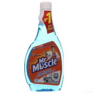 Mr. Muscle, Засіб для миття скла, зі спиртом, запасний флакон, 500 мл