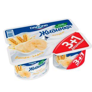 Danone, Йогурт живинка банан-злаки, 1,5%, 4 шт по 115 г