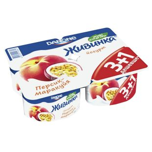 Danone, Йогурт живинка персик-маракуйя, 1,5%, 4шт., 460 г