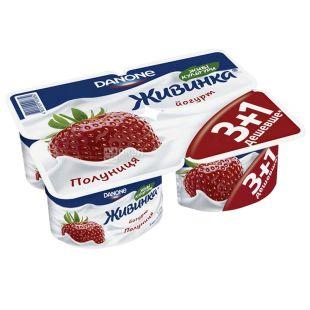 Danone, Йогурт живинка клубника, 1,5%, 4 шт по 115 г