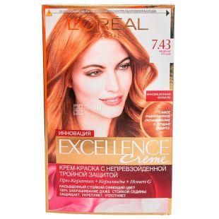 L'Oreal Exellence Creme Медный русый, Краска для волос, тон 7.43