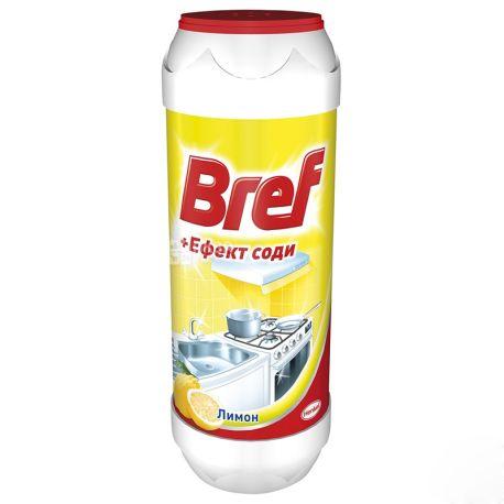 Bref, Чистящий порошок, Для кухонных поверхностей, Эффект соды, Лимон, 500 г