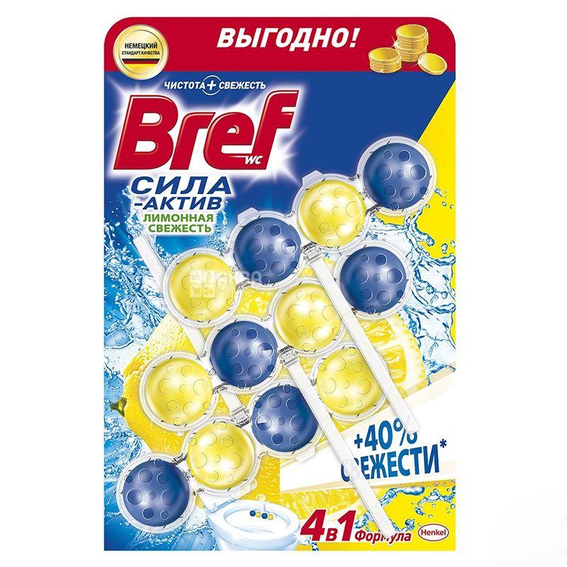 Bref Сила Актив Лимонная свежесть, Блоки для унитаза, 3 шт. по 50 г