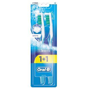 Oral-B 3D White Відбілювання, зубна щітка, механічна, м'якої жорсткості, 1+1