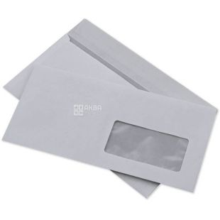Envelope Е65 (110х220 mm) white 100 pcs., With a tear-off tape and a window