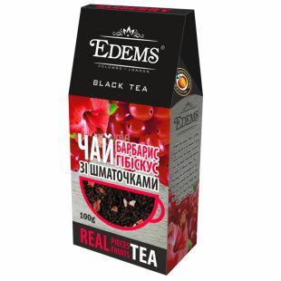 Edems, Barberry Hibiscus,100 г,  Чай Эдемс, Барбарис и гибискус, черный с фруктово-цветочным ароматом