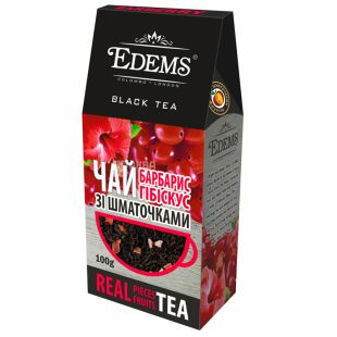 Edems Barberry Hibiscus, Tea, black, loose, barberry and hibiscus, 100 g