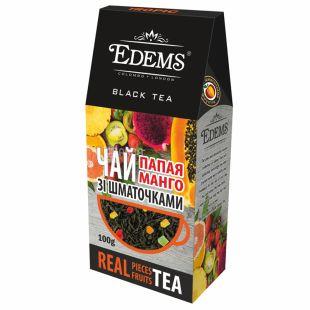 Edems, Papaya Mango, 100 г, Чай Эдемс, Папайя и манго, черный с кусочками фруктов