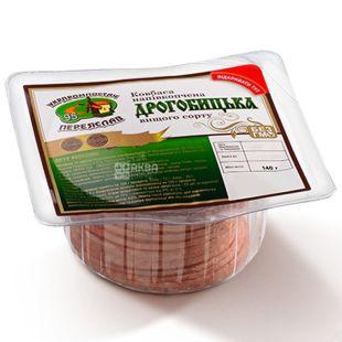 Ukrprompostach Sausage Drogobitskaya half-smoked cutting, 140 g