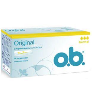 o.b. Original Normal тампони, спіралевидні жолобки, 3 краплі, 16 шт.