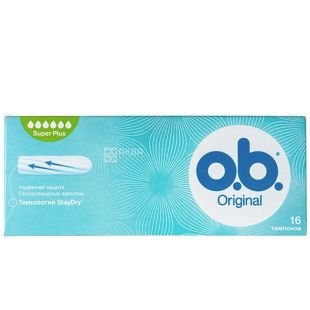 o.b. Original Super Plus тампоны, спиралевидные желобки, 6 капель,16 шт.