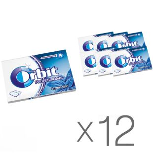 Orbit Professional White Strongmint, Упаковка жувальної гумки, 14 г x 12 шт.