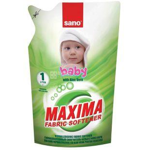 Sano Maxima Baby, Ополаскиватель для стирки детской одежды, алоэ вера, 1 л