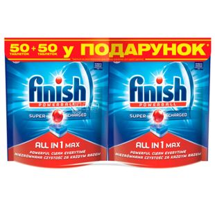 Finish All in 1, Dishwasher Tablets, 50 + 50 pcs.