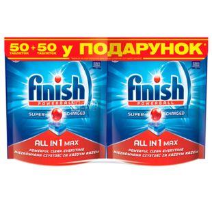 Finish All in 1, Таблетки для посудомийної машини, 50+50 шт.