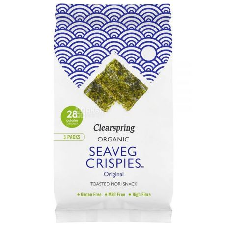 Clearspring, Чіпси з морських водоростей, органічні 5 г