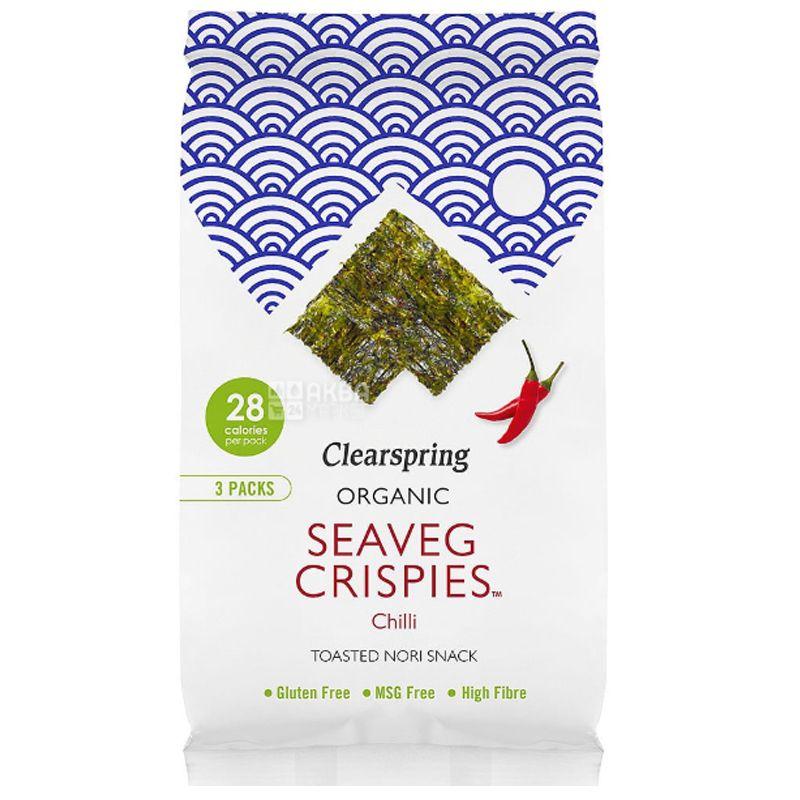 Clearspring, Чипсы из морских водорослей органические с чили 5 г
