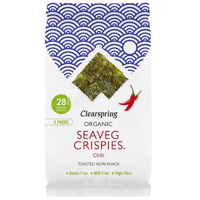 Clearspring, Organic Seaweed Chips, with chilli 5 g
