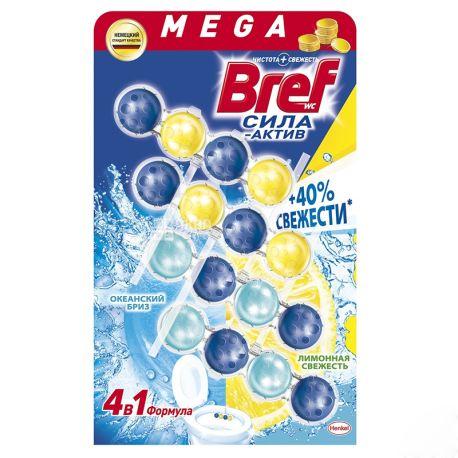 Bref Сила Актив, Лимонна і Океанська Свіжість, Туалетні блоки для унітазу, 4 шт.