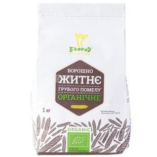 Organic rye flour, 1 kg, TM Ecorod