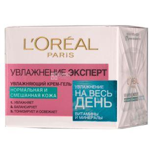 L'Oreal, Крем, Увлажнение Эксперт, Для всех типов кожи, Ночной, 50 мл