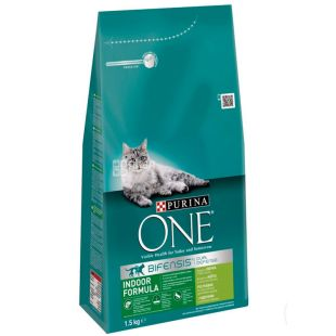 Purina One, Сухой корм для домашних котов со вкусом индейки, 1,5 кг