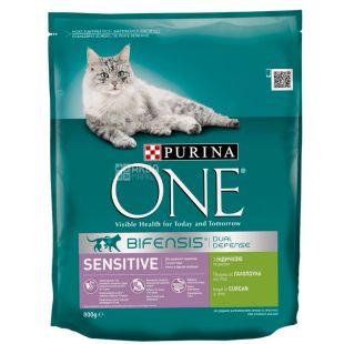 Purina One Sensitive, Сухий корм для котів з індичкою, 800 г
