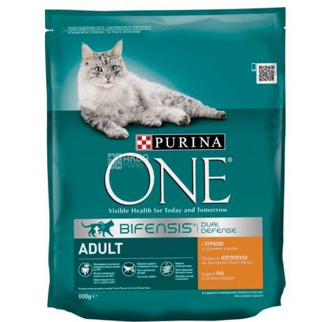 Purina One, Сухий корм для дорослих котів зі смаком курки, 800 г