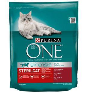Purina One, Сухий корм для котів з яловичиною, Sterilcat, 800 г
