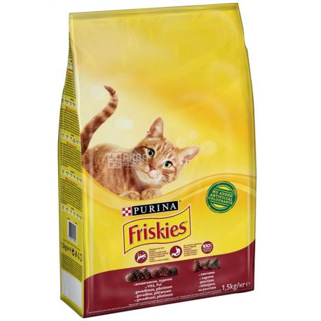 Friskies, Сухой корм для котов, Мясо, Курица, Печень, 1,5 кг