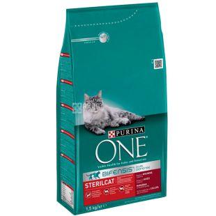 Purina One, Сухой корм для котов с говядиной, Sterilcat, 1,5 кг