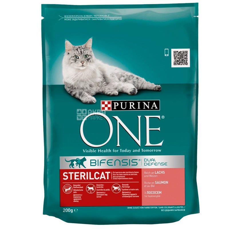Purina, Сухий корм з лососем, пшеницею, Для кастрованих котів і стерилізованих кішок, 200 г