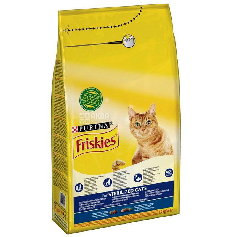 Friskies Sterilised, Корм для котів сухий, Лосось, Овочі, 1,5 кг