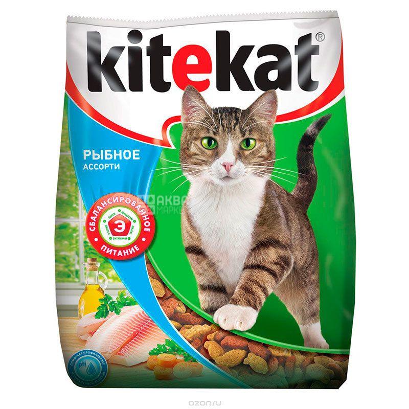 Kitekat, Сухий корм для котів, Рибне асорті, 400 г
