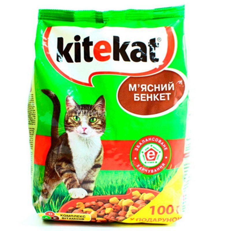 Kitekat, Корм для котов, Мясной банкет, 1 кг