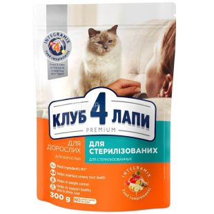 Dry food for sterilized cats, 300 g, TM 4 Paws