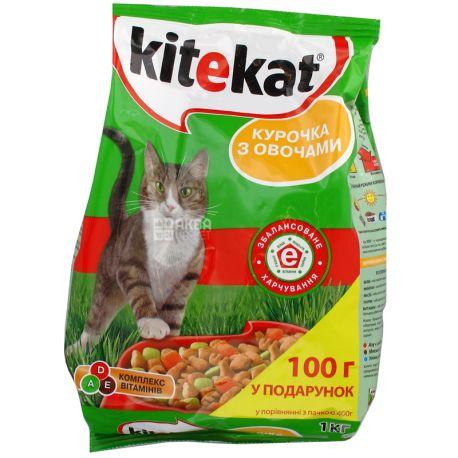 Kitekat, Сухий корм для котів з куркою і овочами, 1 кг