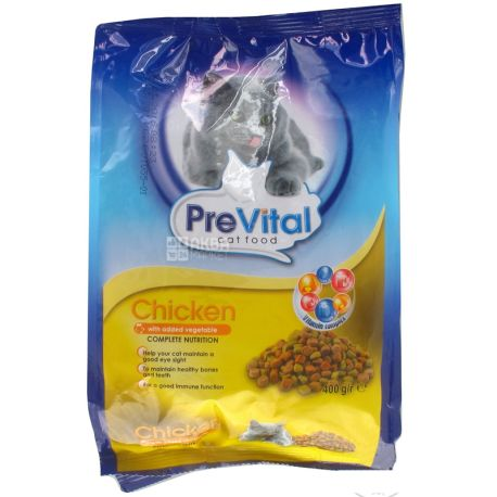 Корм для котів з куркою і овочами сухий, 400 г, ТМ PreVital