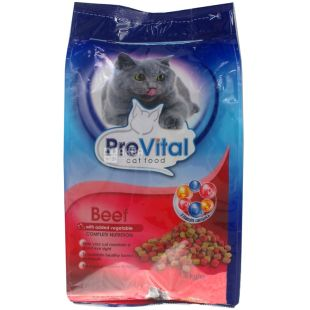 Cat food with beef and vegetables, dry, 1.8 kg, TM PreVital