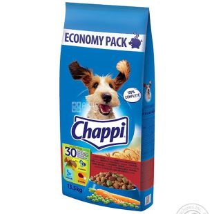Chappi, Dry food for dogs with the taste of beef, poultry and vegetables, 13.5 kg