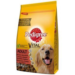 Pedigree, Корм со вкусом говядины и птицы для взрослых собак, 2,6 кг