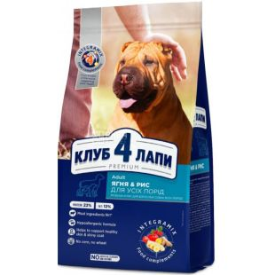 Клуб 4 Лапи, Корм для собак всіх порід, Ягня і рис, 2 кг